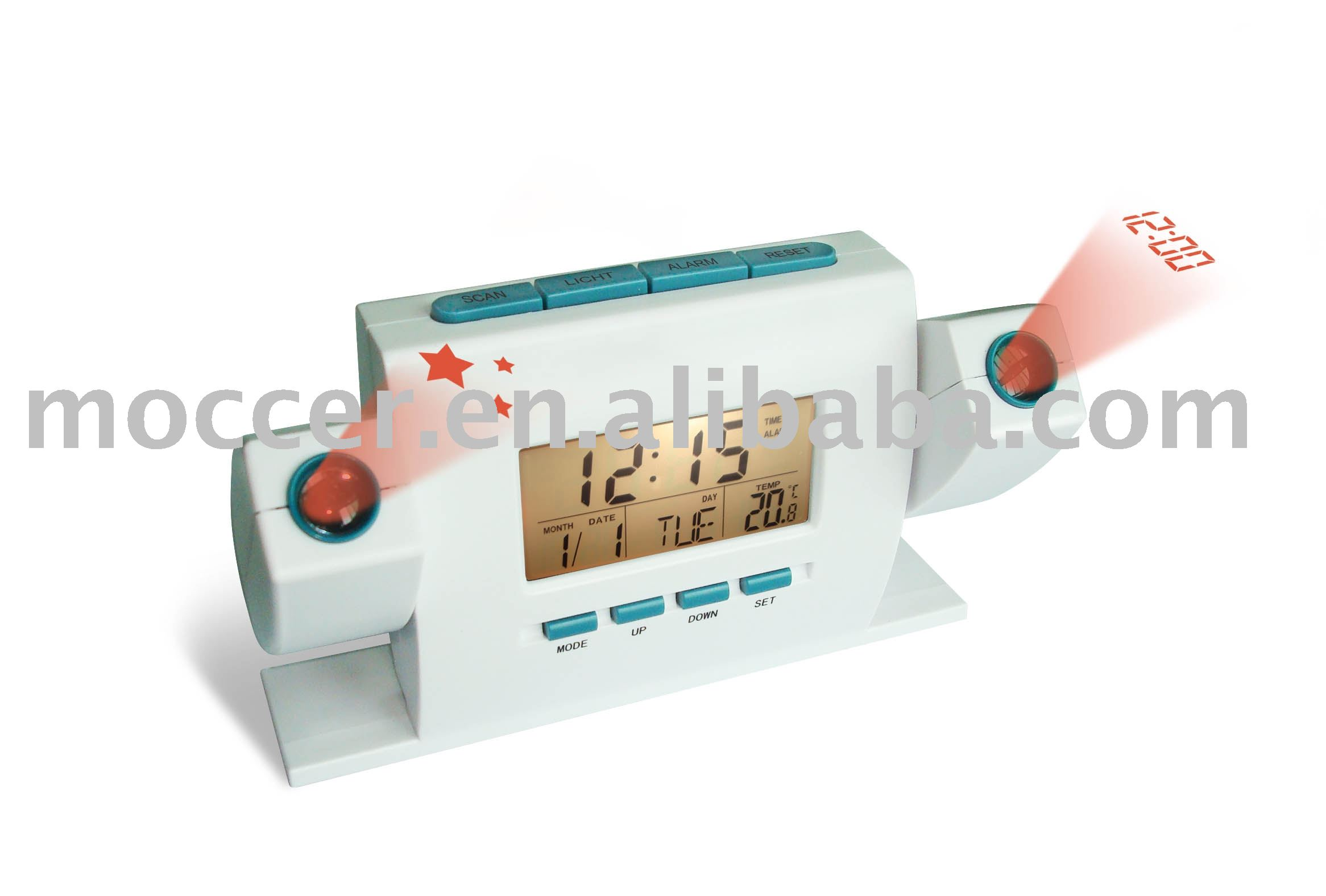 Dual projection clock with FM radio and 6 Natural sound Alarm