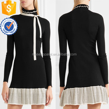 Black And White Long Sleeve Knitted Wool Mini Summer Dress With Tie OEM/ODM Women Apparel Clothing Garment Wholesaler