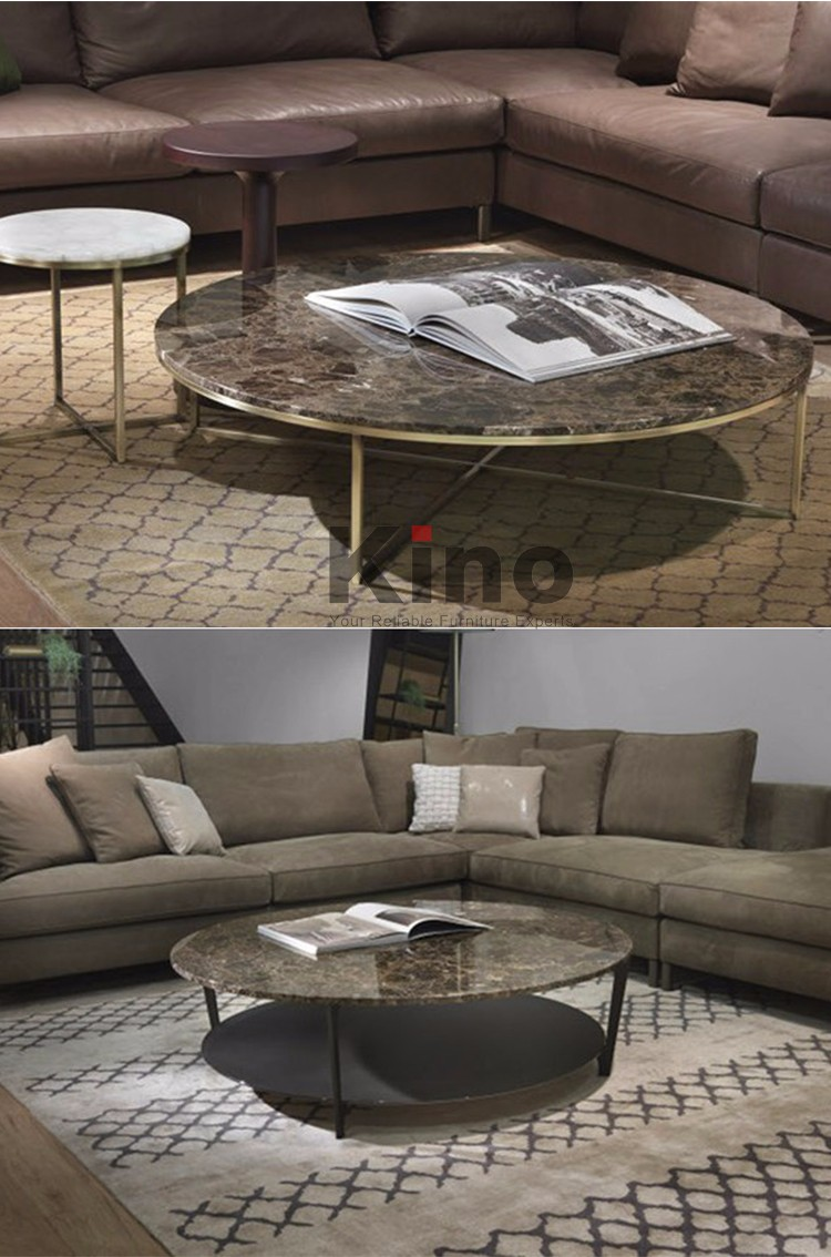 metal frame marble/glass top coffee table living room round tea table furniture