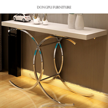 Europe style modern simple unique design stainless steel leg glass top entrance living room furniture console tables