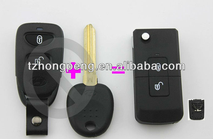 modified 2 button flip car remote key shell for hyundai santa fe key shell factory direct