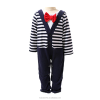 Baby Boy Cardigan Onesie and Bow Tie Set-Navy & Off White Stripe long sleeve romper