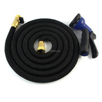ALL NEW 2016 black Expandable Garden Hose with elastic outer fabric Strongest Flexible Expanding Hose with Solid Brass Fittings