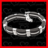 Black Titanium Steel Magnetic Therapy Health Care Germanium Men Energy Bracelet