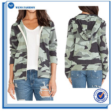 Womens Fashion Digital Camo Jacket Zip Fleece Thick Jacket Polar Hoodie Jacket