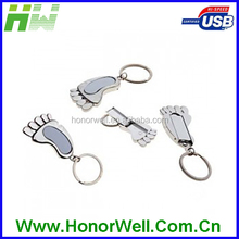 Top Sale Any Logo Mini Shining Aluminum Foot Shape Novelty Usb Flash with Keychain