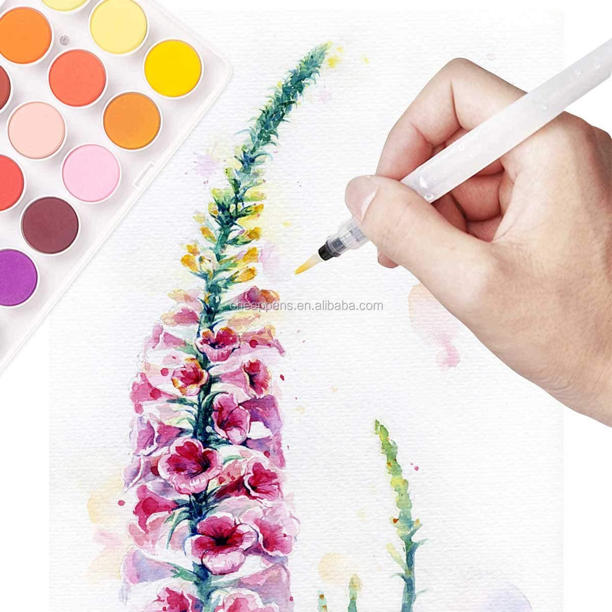 Water Coloring Brush Pen 6 Piece Refillable for Watercolor Painting, Calligraphy, Drawing, Blending
