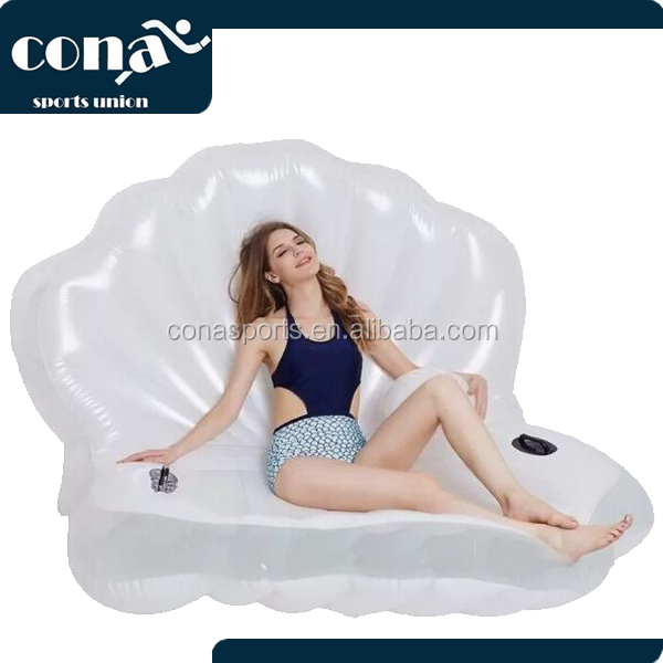 2017 Beautiful Giant Pearl shells Pool Float with Beach Ball Giant Inflatable Swimming Pool Lounge