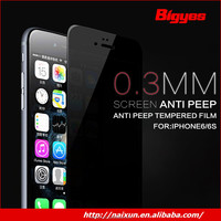 Wholesale factory price 0.9 H protect privacy clear tempered glass screen protector film for iphone 6