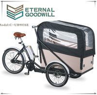 2015 hot sale 7 speeds 3wheels electric cargo bike/tricycle bicycle for family used UB 9036E