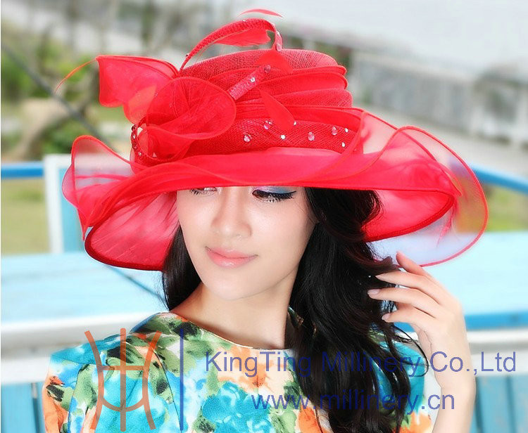 Girls Fancy Red Sinamay Hats Party hats