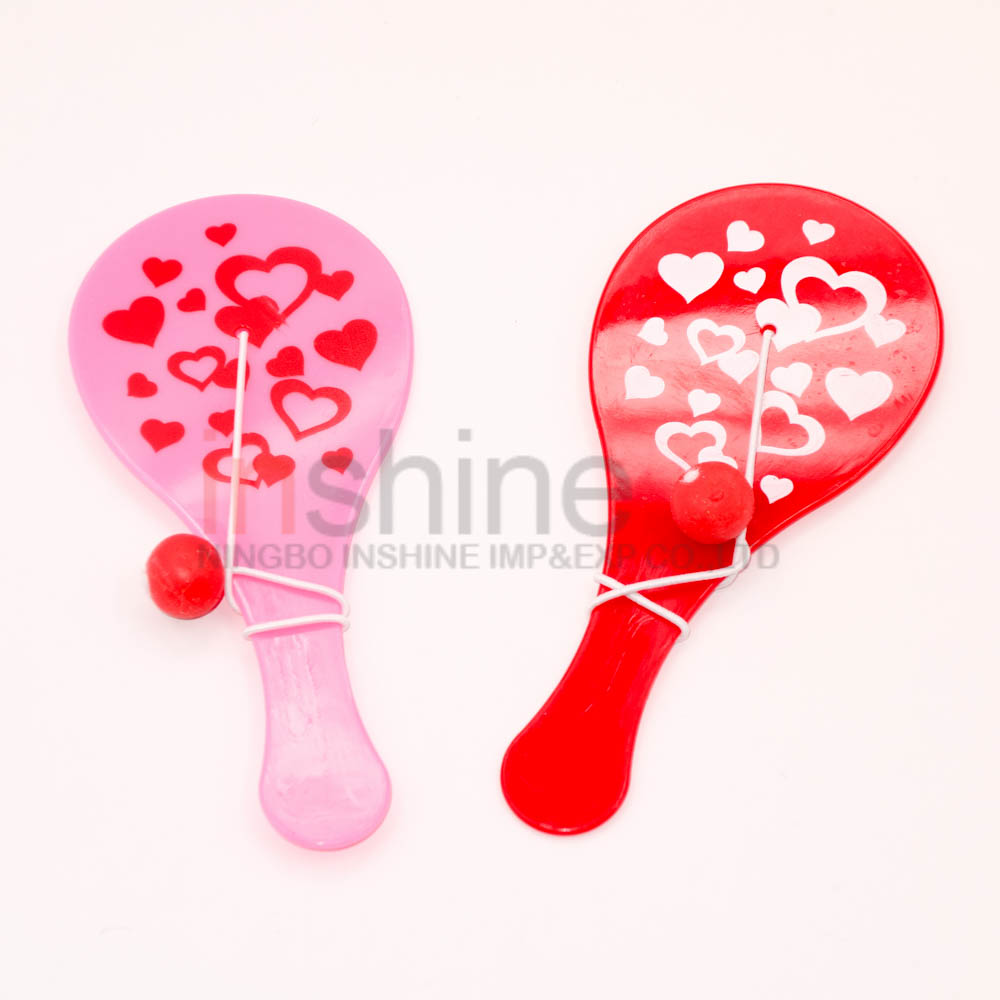 Valentine plastic paddle ball game toy , custom printed promotional paddle ball