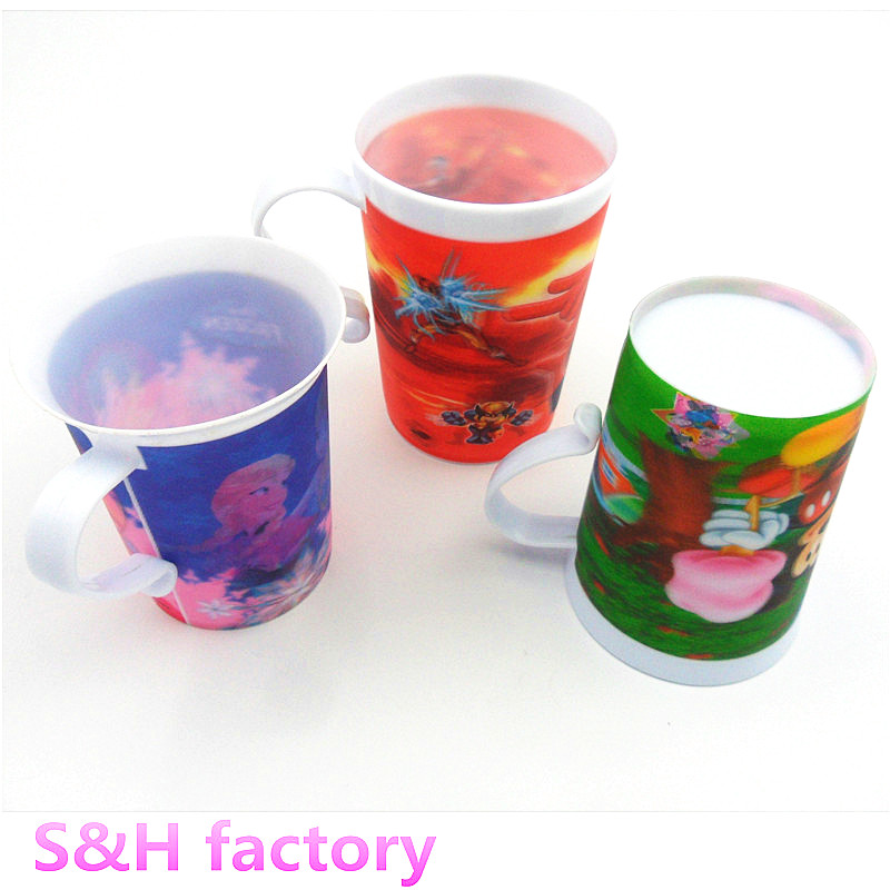 Lenticular 3D Drinks Cup Plastic Mug with Handle for kids