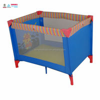 Outdoor easy folding Plastic Metal Material and Playpen Type baby playpen & travel cot & play yard