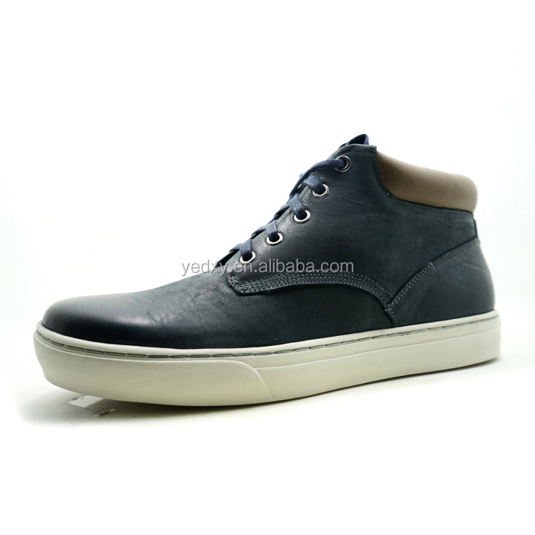 durable and fashion high cut men leather shoes