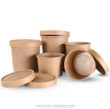 Disposable Brown Hot Soup Bowls Take Away Kraft Soup Paper Cup