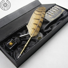 Owl feather quill pen set with gift box/Brass pen barrel set