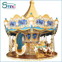 2015 Commercial amusement park Attraction 16 seats kids used indoor electric merry-go-round for sale