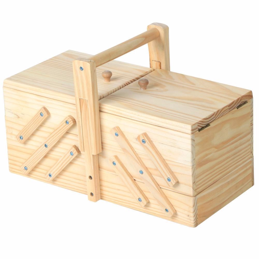 Wholesales packaging box cheap pine unfinished cantilever folding wooden girls sewing box