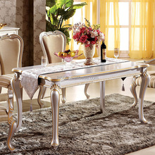 antique european style white color wood dining table and fabric chair for 6 seaters wooden dining tables and chairs furniture