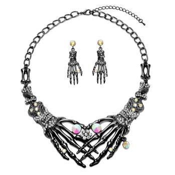 Halloween Claw jewelry set wholesale skull choker necklace claw earring