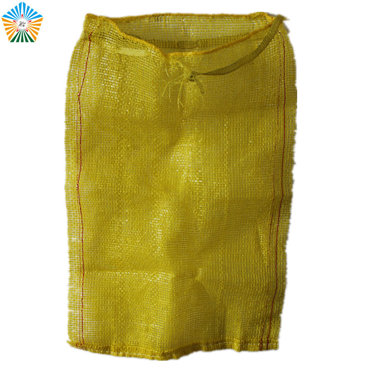 Environmental friendly rich color small drawstring mesh bag for onions