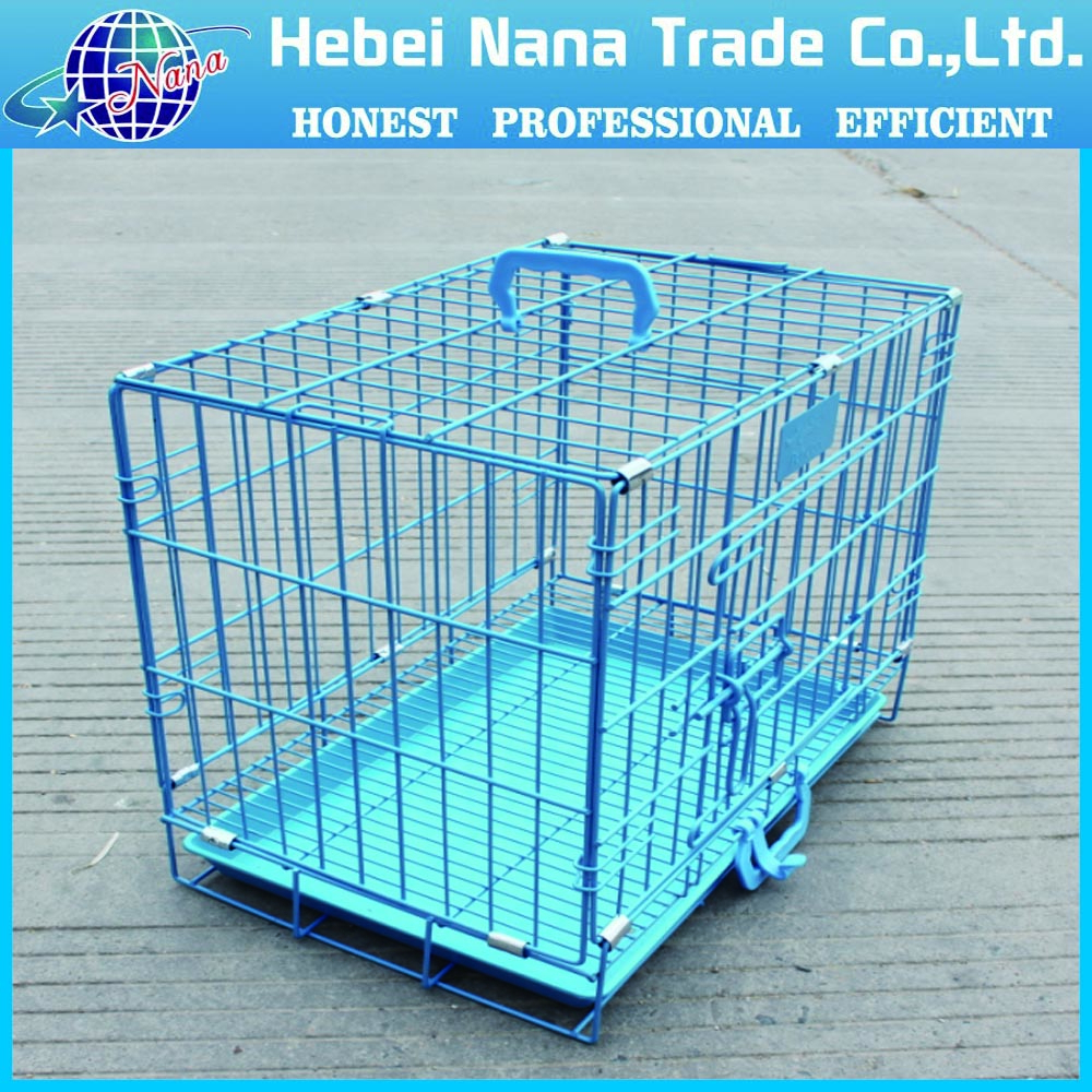 Beautiful blue folding rabbit cage with plastic tray