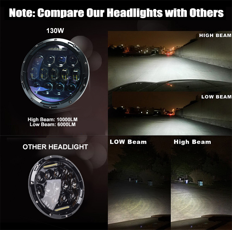 "DOT approved 130W 7"" 7 inch round led headlight for jeep grand cherokee headlights"