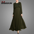 Rayal Model Style Islamic Clothing Arm Green And Ruffle Muslim Burka Long Sleeves Maxi Dress Latest Design of Pictures For Women