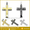 Silver Gold Black Plated 316L Stainless Steel Cross Pendant Necklace