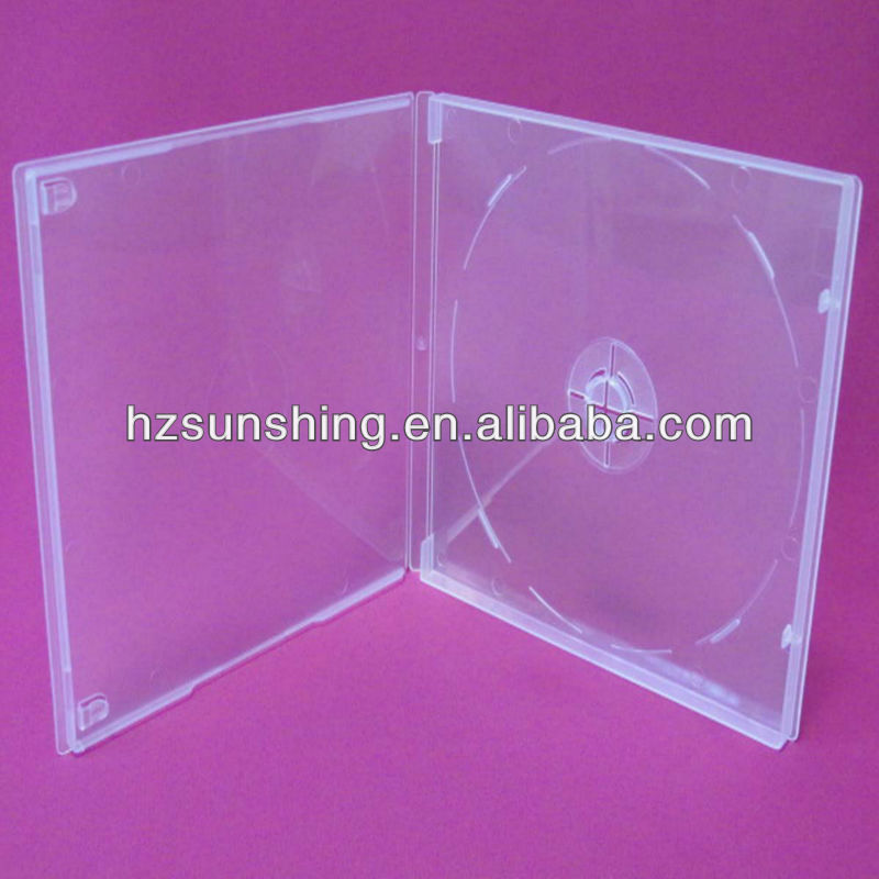New design 9mm clear single cd dvd pp box with booklet clips