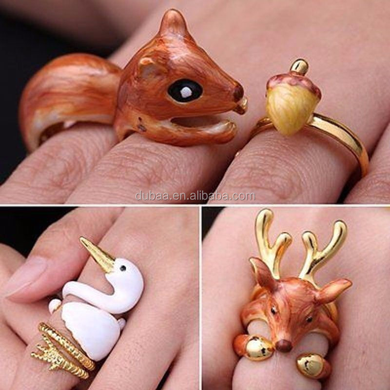 3Pcs Super Cute Animal Ring Adjustable Finger Wrap Stack Rings Cute Squirrel Open Joint Knuckle Nail Ring Set