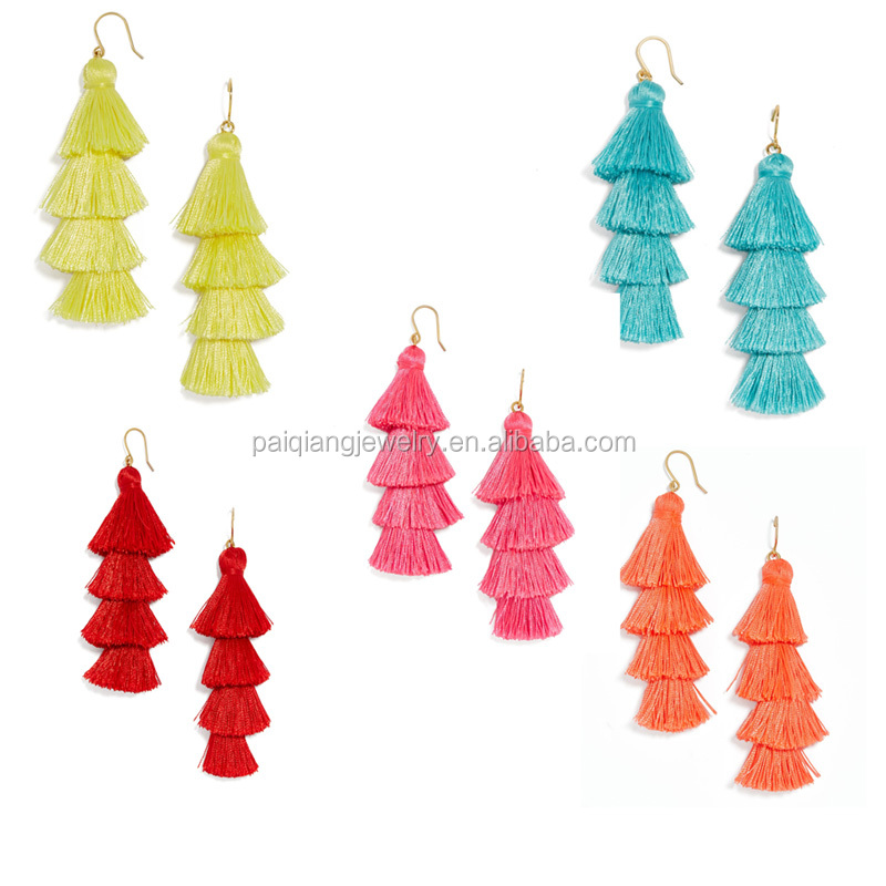 Fashion hot selling popular silk tassel fringe drop earring