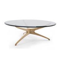 European style modern solid wood coffee table with glass top, Teak wood root coffee table manufacturer China