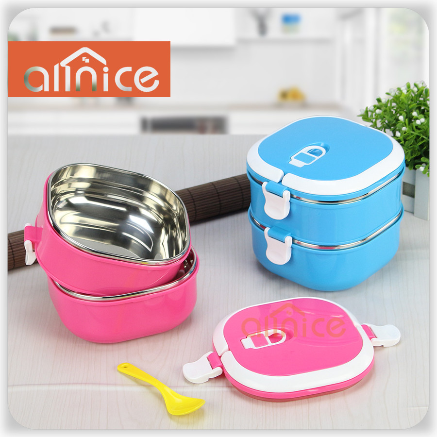 stainless steel bento lunch box for kids thermal food container food box lunchbox pink blue. Black Bedroom Furniture Sets. Home Design Ideas