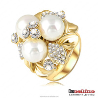 LZESHINE Wholesale Fashion 18k Gold Plated Lady Pear Cluster Costume Ring Ri-HQ0066