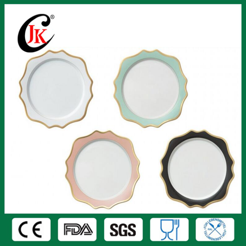 Wholesale good quality logo custom printing royal antique ceramic plate chargers