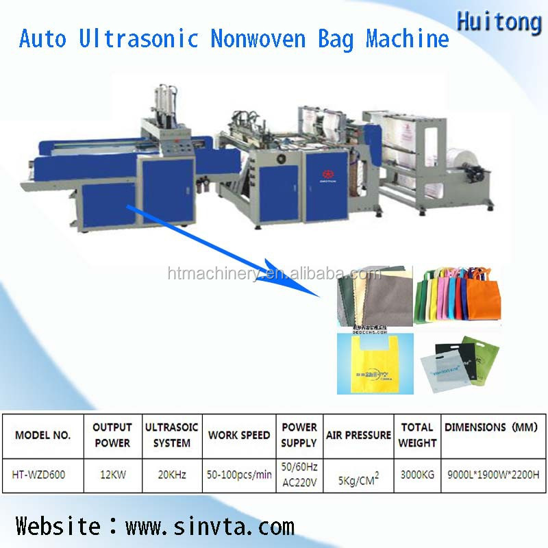 Auto ultrasonic Nonwoven Flat Gift Bag Making Machine