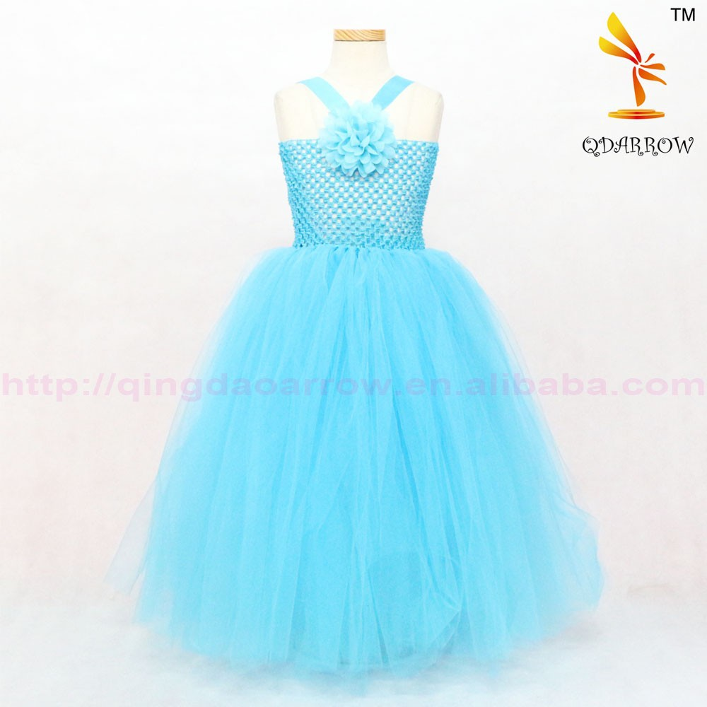 Newest Design Princess Girl Baby Long Sleeve Tutu Dress With Flower