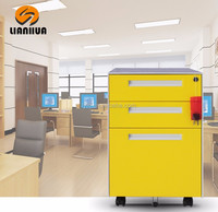 mobile cabinet with wheels movable three drawer pedestal