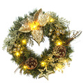 Holiday Decoration Plastic LED Flower Christmas Wreath