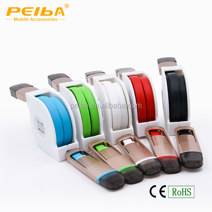 Factory direct multiple usb cable Phone Charger 1M Colorful Retractable USB OTG Cable With Your Logo Printing