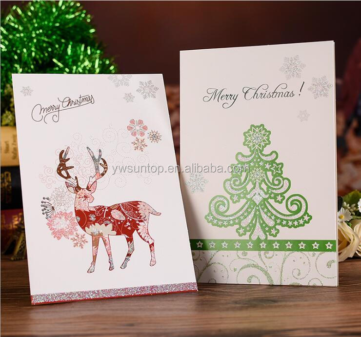 Glitter Merry Christmas Cards Folding Xmas Blessing Card