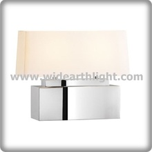 UL CUL Listed Chrome Simple Design Bedroom Table Lamp With Fabric Shade T80412