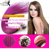 Remy hair silky straight micro ring hair extension, keratin bond hair extension micro beads