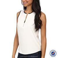 China clothing manufacturers design white women wear sleeveless zip front blouse