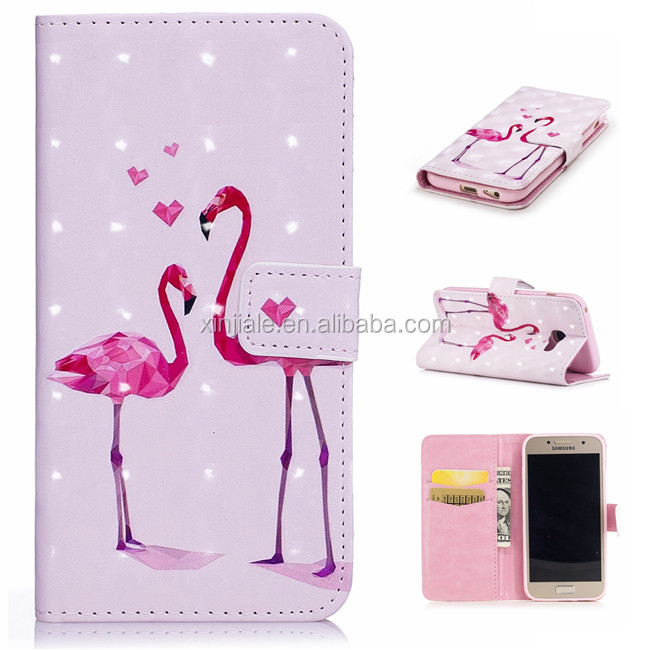 For Samsung Galaxy J510 J530 eur Customized Flower Butterfly Print Cover PU Leather Wallet Stand Cell Phone Case