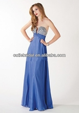 2014 New Model Evening Dress A Line Chiffon Sweetheart Crystal Long Sexy Blue Prom Gowns