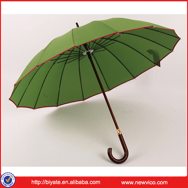 Straight auto open rain wind umbrella with bamboo handle