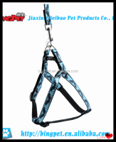 wholesale dog products beard and stripe printed nylon pet harness and leash set